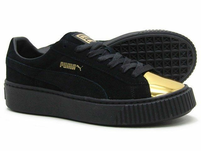 PUMA WOMEN'S PLATFORM BLACK GOLD SNEAKERS TOE SNEAKERS GOLD sz 8.5 NEW AUTHENTIC a22377