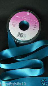Double Faced Teal Blue Satin Ribbon 7mm *4 Lengths*