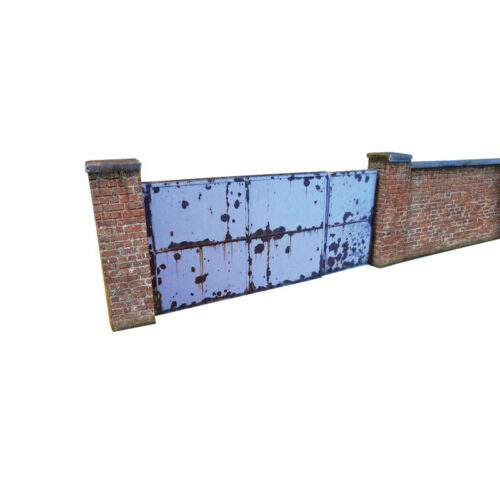 TT SCALE TRIANG MODEL RAILWAYS 6ft INDUSTRIAL RED BRICK WALL /& GATES CARD KIT