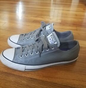 956b98cde3b3 Mens Converse Chuck Taylor All Star Gray Leather Shoes Low Top Shoes ...