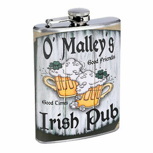 Vintage Pirate Ship D10 Flask 8oz Stainless Steel Hip Drinking Whiskey