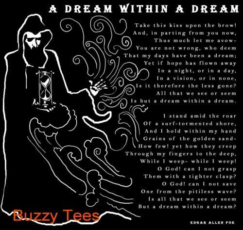tailles Sm-5X Dream Within A Dream T-shirt graphique, Poésie Edgar Allan Poe