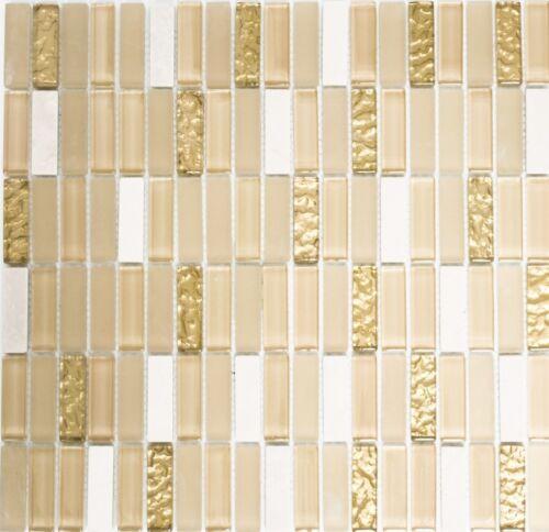 Glasmosaik Naturstein Stäbchen beige matt gold Wand Bad WC|87-1202/_f10 Matten