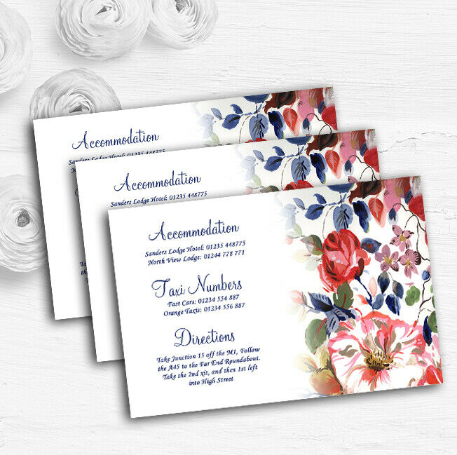 Pretty Blau Vintage Floral Personalised Wedding Guest Information Cards