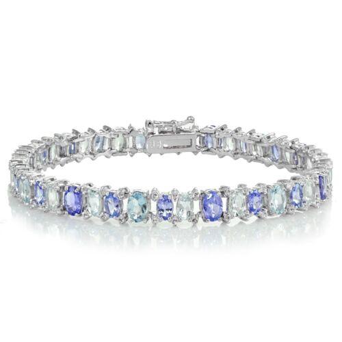 Aquamarine and White Topaz Oval Bracelet Sterling Silver Tanzanite