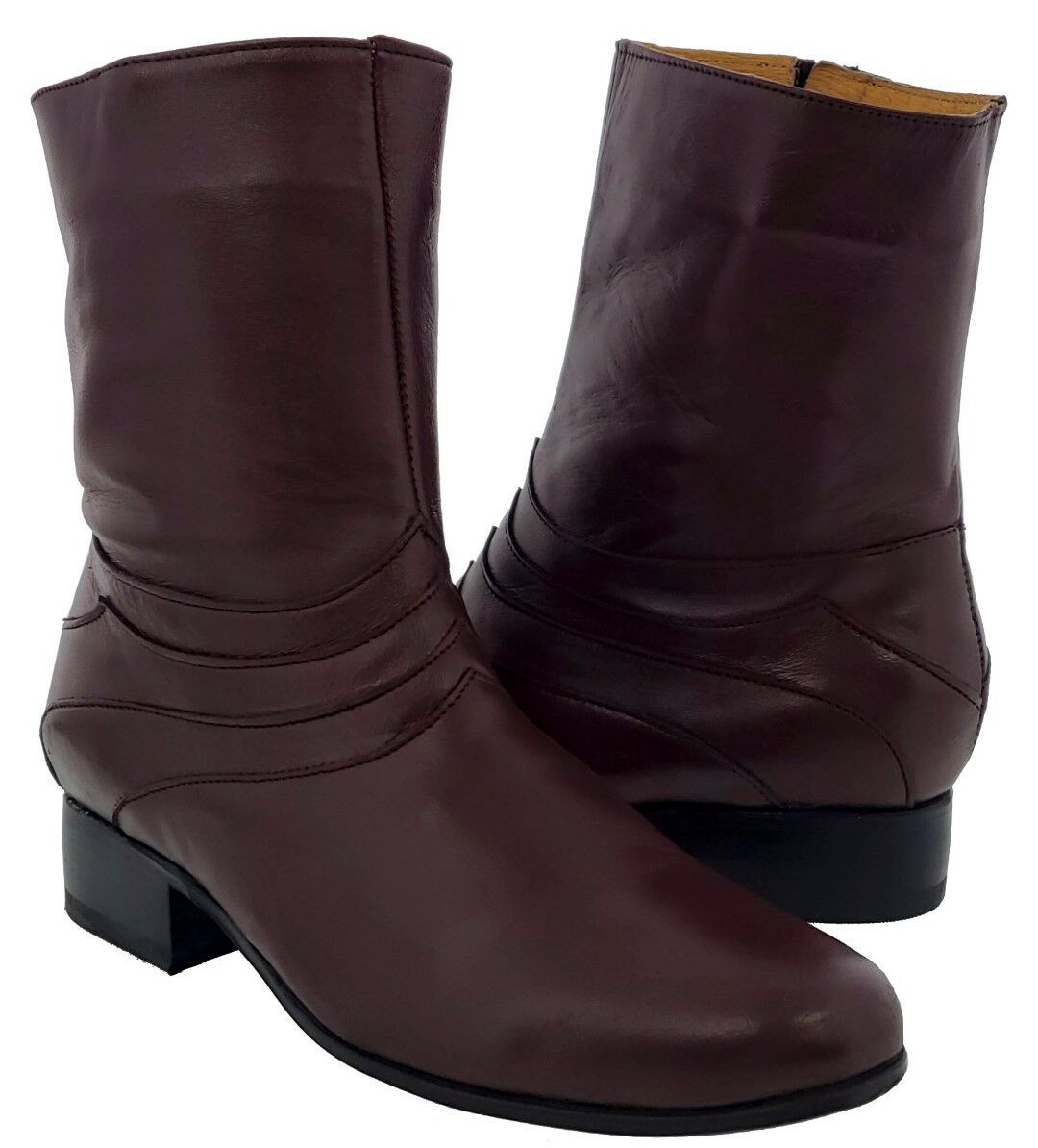 Uomo Burgundy Smooth Pelle Round Zipper Ankle Stivali Design Botin Cowboy Rodeo