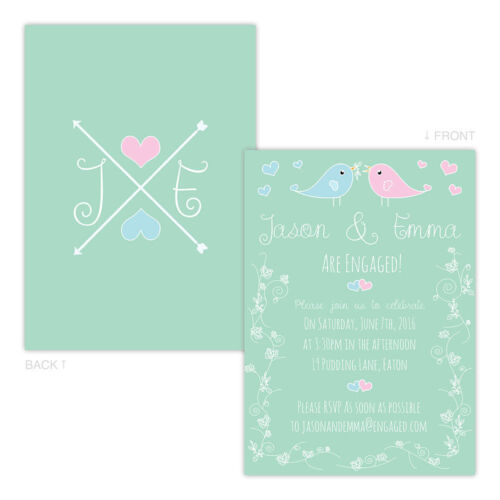 Personalised engagement party invitations LOVEBIRDS PASTEL FREE ENVELOPES /& DRAF