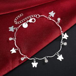 Wholesale-925-Silver-fashion-women-Lady-Charms-wedding-bracelet-Chain-link-LH035