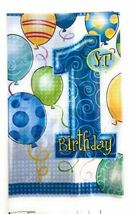 First-Birthday-Disposable-Tablecloth-Cover-Plastic-Tableware-1st-Bday-Blue