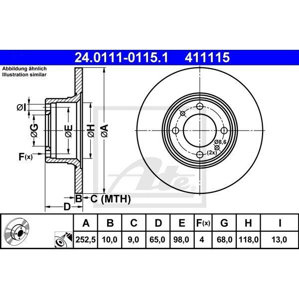 2x Bremsscheibe Bremse ATE 24.0111-0115.1