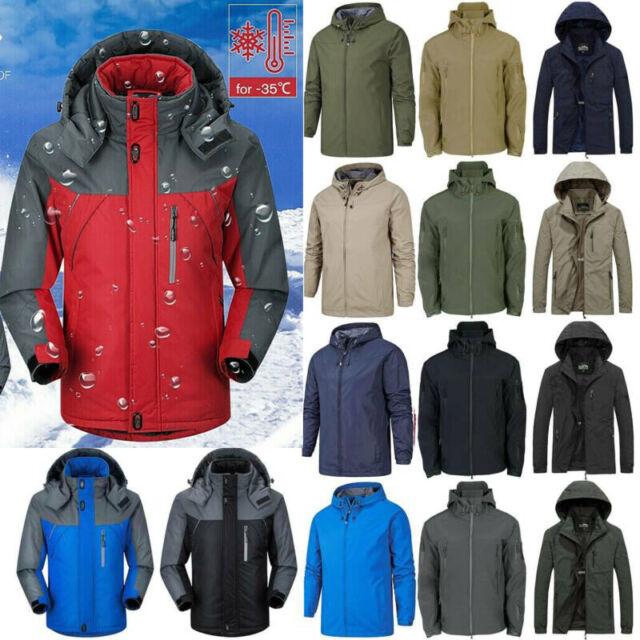 TACVASEN Mens Mountain Ski Jacket Windproof Fleece Liner Jacket Winter Snow Hooded Coat