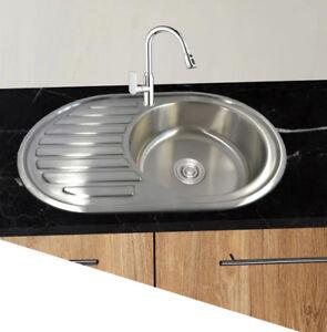 Dettagli su 1 Lavello Cucina Acciaio Inox 304 Lavabo Grande Rotondo  Installazione Lavandino