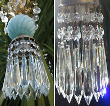 1of9 SWAG lamp chandelier crystal prism Vintage Swirl Blue Turquoise tole Brass