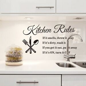 Image Is Loading DIY 3D Wall Sticker Kitchen Rules Removable Quote
