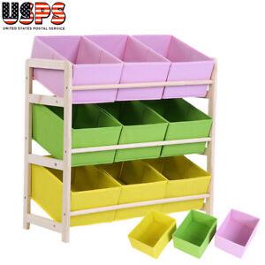 Toy Storage Box Bin Wood Shelf Rack