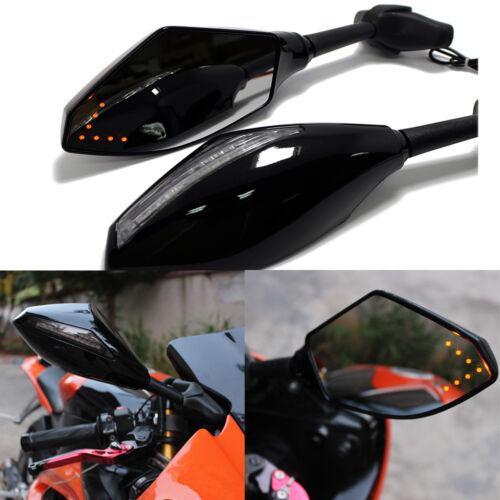 MOTORCYCLE LED TURN SIGNAL REAR VIEW MIRRORS FOR HONDA SUZUKI KAWASAKI YAMAHA US
