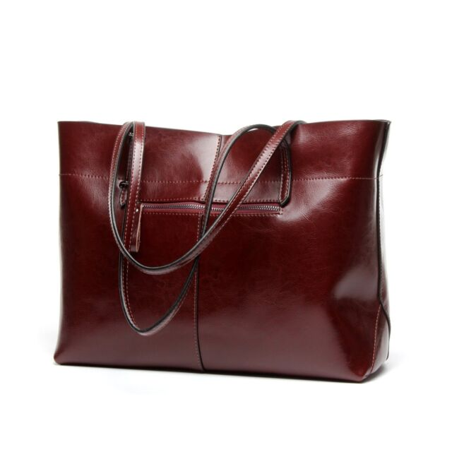 d22f7a12ba81 Covelin Womens Handbag Genuine Leather Tote Shoulder Bags Soft Hot Wine Red