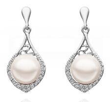 Beautiful Vintage Stylish Silver & White Pearl Drop Dangle Earrings Bridal E649