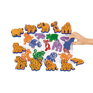 12-Zoo-Animal-Stamps-Dozen-Kids-Ink-Crafts-Zebra-Monkey-Hippo-Stampers-Fun