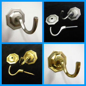 2-octogonale-rideau-de-mur-crochets-gland-bricolage-Laiton-argent