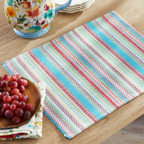 The Pioneer Woman Classic Chunky Stripe Ribbed Blue Reversible Single Placemat