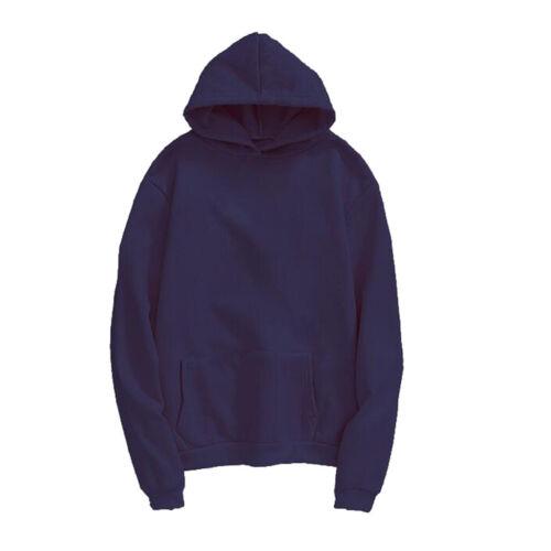 Mens Pullover Hoodie Hooded Sweatshirt Fleece Top Plain Hoody Jumper M-4XL