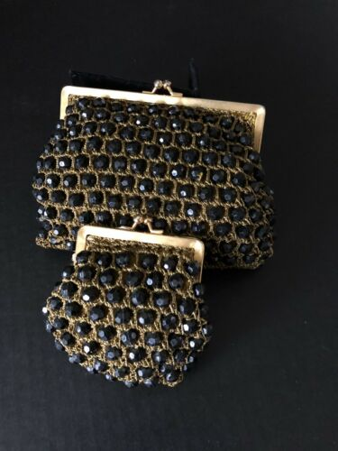 VTG BLACK ROSENFELD PURSE w matching COIN PURSE Be