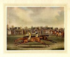 HORSE RACING ANTIQUE COLOR PRINT THE RACE AT NEWMARKET JOCKEY SADDLE WHIP REINS