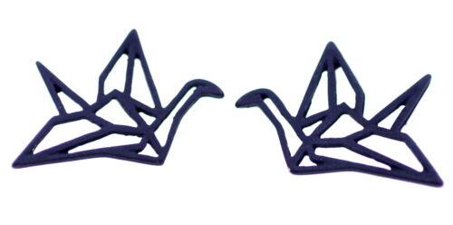 filigree design 3cm wide black origami crane earrings Cut out