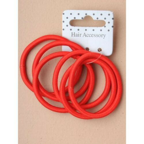 2 PACKS =12 RED THICK JERSEY  HAIR ELASTICS ENDLESS SNAGFREE 4MM