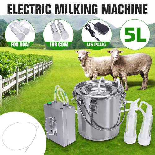 5L Dual Head Milking Machine Vacuum Impulse Pump Stainless Steel Cow Goat Milker