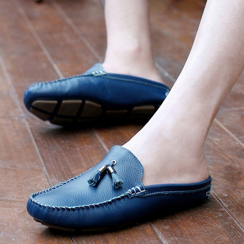 Men's Leather slip on tassel boat shoes slippers mules loafers casual shoes New