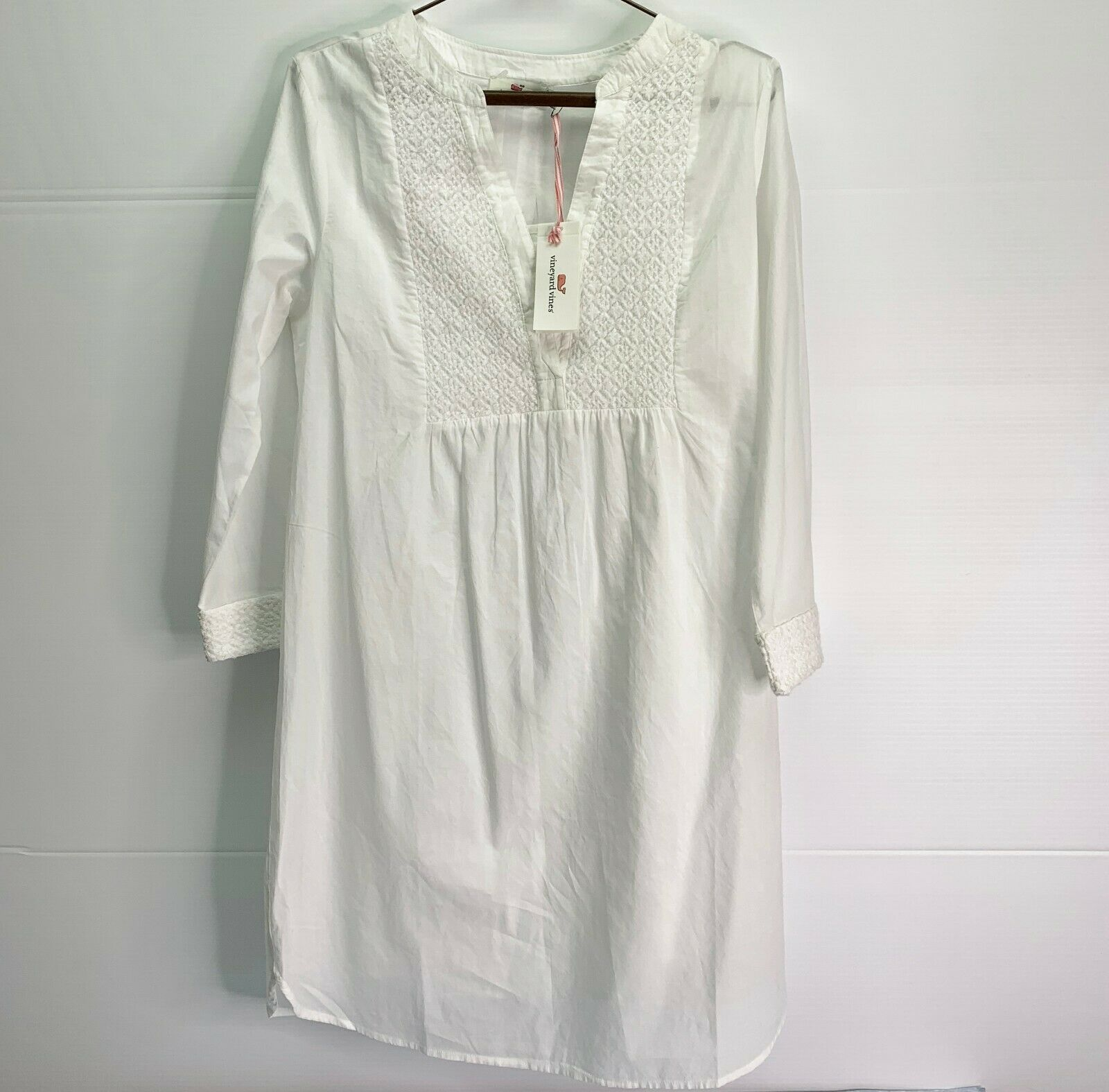 Vineyard Vines Beach Dress Womens Small Coco Vines Embroidered White Cotton NWT