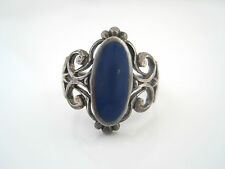 925 Sterling Silver Filigree Oval Blue Stone or Enamel Ring Size 6.25 6 1/4
