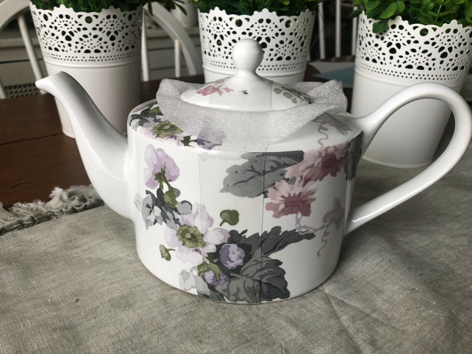 NEW 222 FIFTH PATIO pink WATERCOLOR  FLORAL TEAPOT NEW