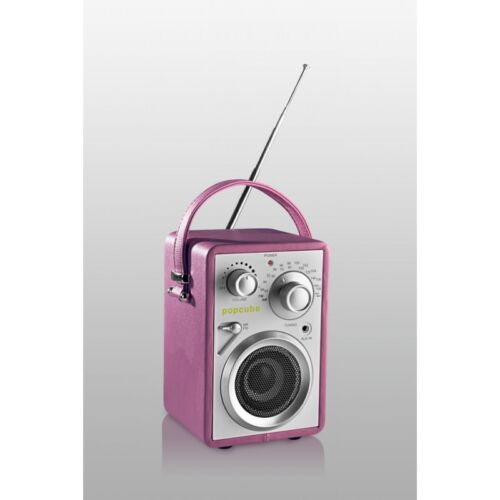 Original Bergmann popcube travel pink UKW MW Sound Dock Box Retro Design