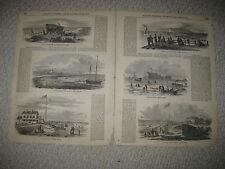 LARGE ANTIQUE 1855 CHELSEA BEACH BOSTON HARBOR MASSACHUSETTS PRINT LIGHTHOUSE NR