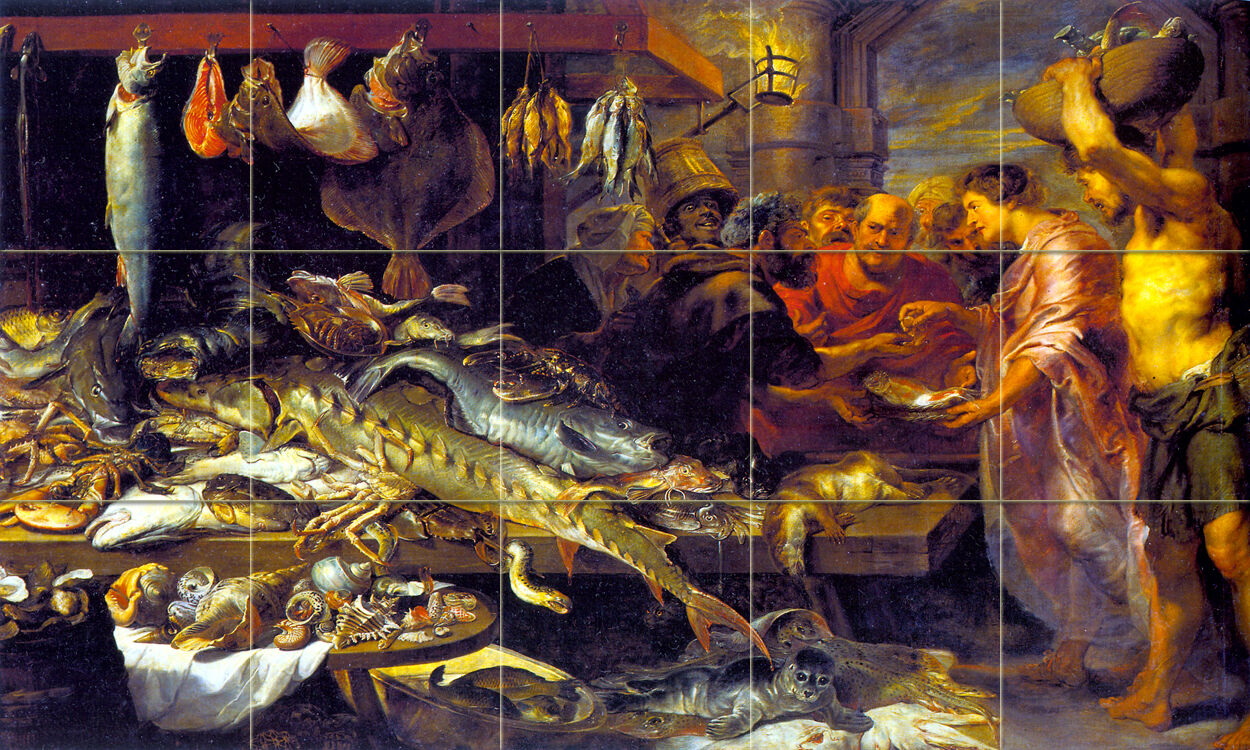 Art Frans Snyders Mural Tumbled Marble Market Seafood Tile  249