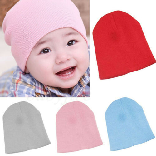 Kid Beautiful Warm Plain Skull Beanie Candy Color Knit Wool Crochet Slouch Hats