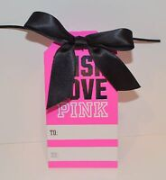 Victoria's Secret Pink Wish Love Pink Gift Tag To From Black Bow Wrap Cute