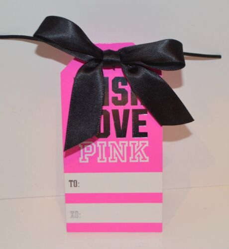 NEW VICTORIA/'S SECRET PINK WISH LOVE PINK GIFT TAG TO FROM BLACK BOW WRAP CUTE
