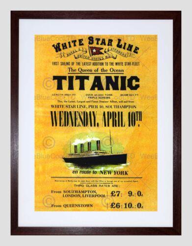 TRAVEL DOOMED OCEAN LINER TITANIC QUEEN WHITE STAR UK FRAMED PRINT B12X10274