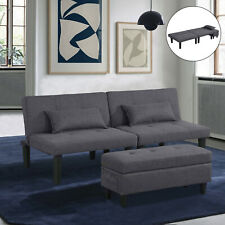 Modern Faux Leather Futon Sofa Bed Fold Up & Down Recliner Couch with Ottoman