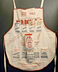 Vintage novelty print apron bartenders humorous 1920\u2019s theme party wear unisex apron gag gift guest bartenders apron fun party wear