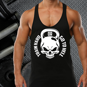 3a30421a567b9d TRAIN HARD OR GO HELL GYM VEST STRINGER BODYBUILDING MUSCLE TRAINING ...