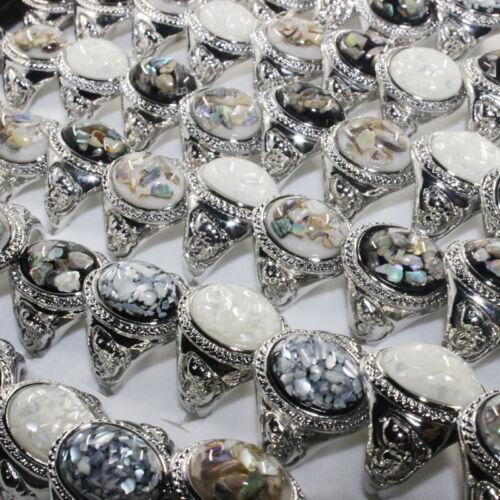 Bijoux Plaqué Argent Wholesale Lot 30pcs Pierres Précieuses coquilles fashion rings Bulk