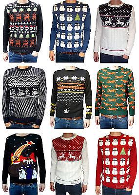 Christmas Xmas Jumper snowmen Santa Clause Retro vtg 80/'s ugly fairisle kitsch