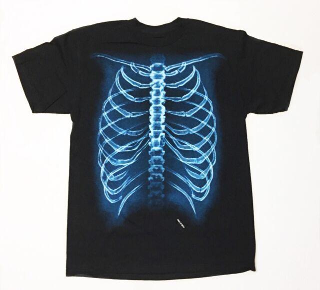 Skeleton / Ribs - Youth Boys Small 8 Black T-Shirt Funny ...