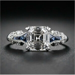 Women-Jewelry-925-Silvering-Ring-Princess-Cut-White-Sapphire-Bridal-Wedding-Gift
