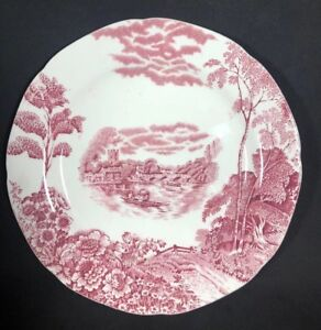 Red-Transferware-9-1-2-Plate-the-Thames-At-Henley-Bridge-Rare-Pountney-amp-Co-C
